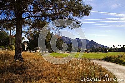 美丽的新的现代高尔夫球场航路在亚利桑那