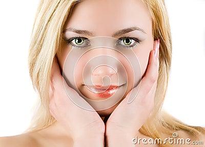 美丽的白肤金发的妇女