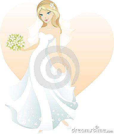 美丽的白肤金发的新娘