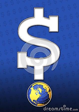 美元的符号和地球