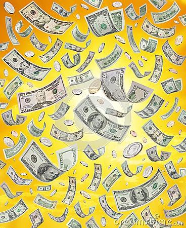 美国下跌的货币下雨