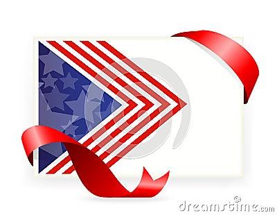 美国国旗,与丝带的名片