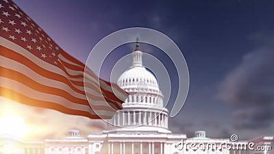 美国国旗,美国国会大厦大厦 影视素材