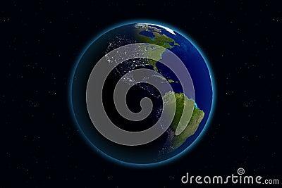 美国日地球晚上