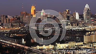 Looping day to night timelapse of Cincinnati, United States 4K 影视素材