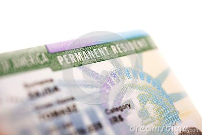 美国绿卡-美国永久居留权卡片特写镜头.
