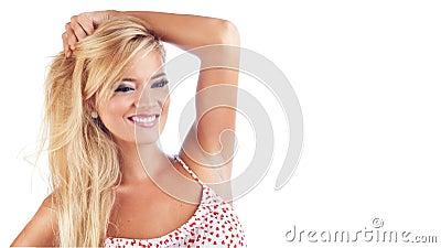 美妙白肤金发的妇女