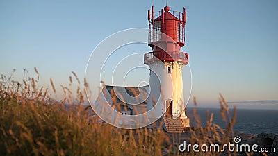 老Lindesnes灯塔, Lindesnes fyr是位于最南端的问题的一座沿海灯塔的挪威 影视素材