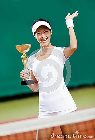 职业网球球员赢取了比赛