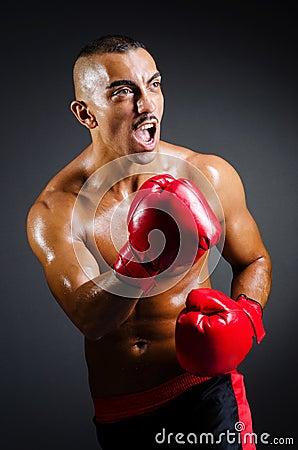 肌肉拳击手在工作室