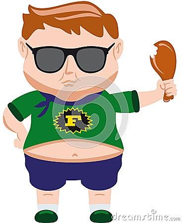 喜欢吃的小肥胖人 有大腹部的时髦的年轻人 在绿色衬衣和蓝色短裤的图片