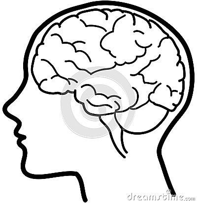脑子bw图标向量