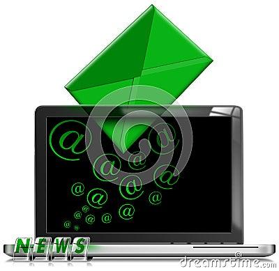 膝上型计算机电子邮件简讯概念