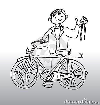 插画 包括有 极其, 金属, 有效地, 愉快, 自行车骑士, 骑自行车的人图片