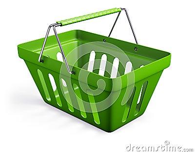 绿色倒空商店篮子