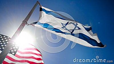 以色列和美国的旗子 股票录像