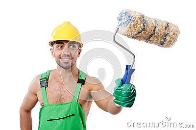 绿色工作服的画家