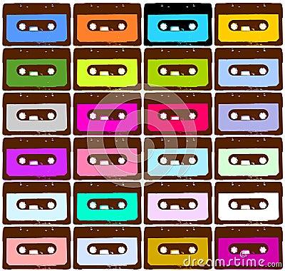色的卡式磁带