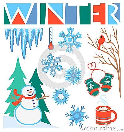 艺术夹子eps集合冬天