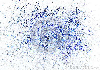 艺术性的蓝色水彩飞溅。光栅