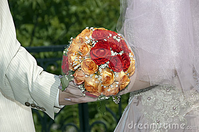 花束橙红婚礼白色