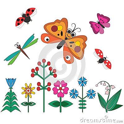 六朵花,两只蝴蝶,两只瓢虫,蜻蜓.图片
