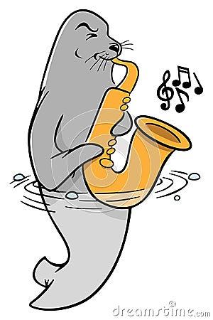 萨克斯管吹奏者密封免漫画图片剧情-库存:1照片的版税岛神秘图片
