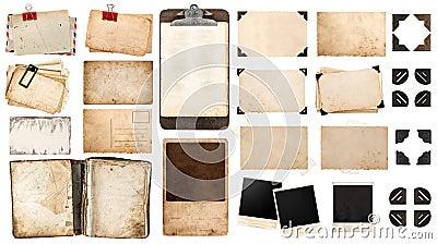 葡萄酒纸板料、书、老照片框架和角落, antiqu