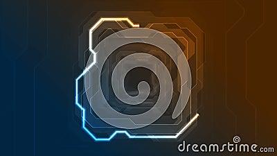 蓝橙色霓虹抽象技术几何运动背景 影视素材
