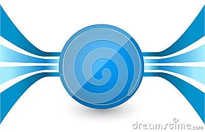 蓝色减速火箭的线路在中心一个蓝色圈子