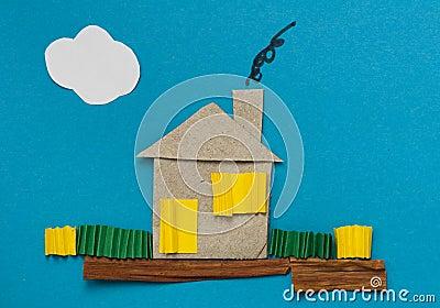 蓝色房子做在纸张