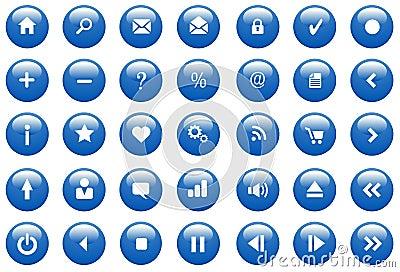 蓝色按钮光滑的图标集合向量万维网.图片