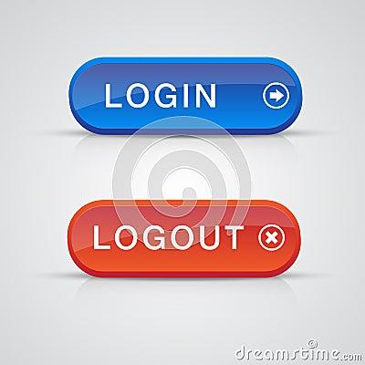 登录按钮_蓝色按钮登录注销红色集