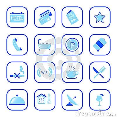 蓝色旅馆图标系列