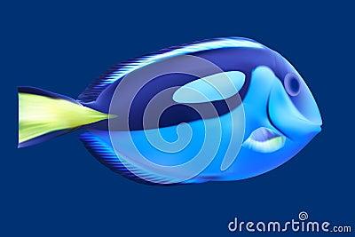 蓝色热带鱼.传染媒介例证.图片