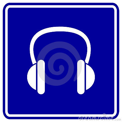 蓝色耳机签署向量