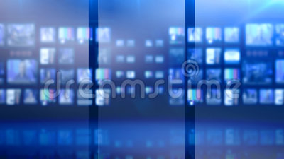 蓝色被设色的演播室控制室 股票录像