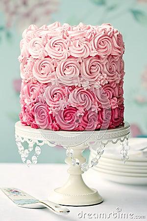 蛋糕ombre粉红色