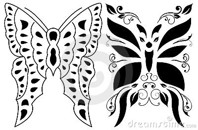 蝴蝶格式纹身花刺部族向量