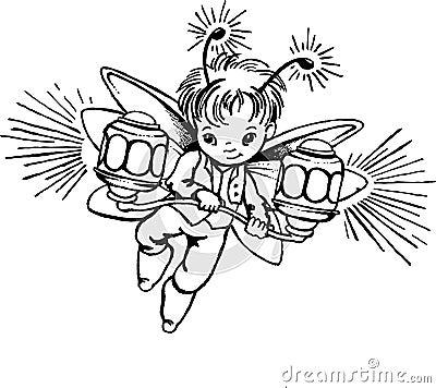 一个小的萤火虫的例证与灯笼的.