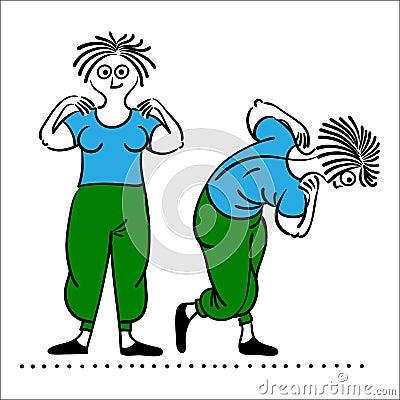 老妇性交姿势_行使老妇人 早晨行使,例证,被设置的普拉提姿势.