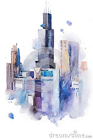 街市水彩图画都市风景大的城市,水彩画绘画.图片