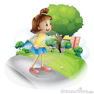 街道的一个小女孩图片