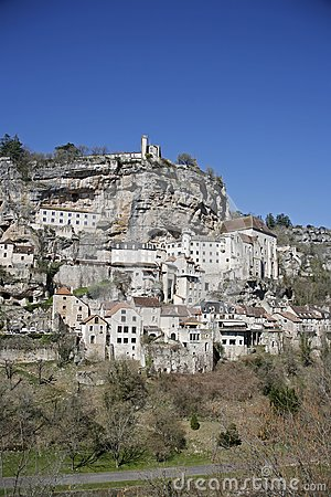 被栖息的rocamadour村庄