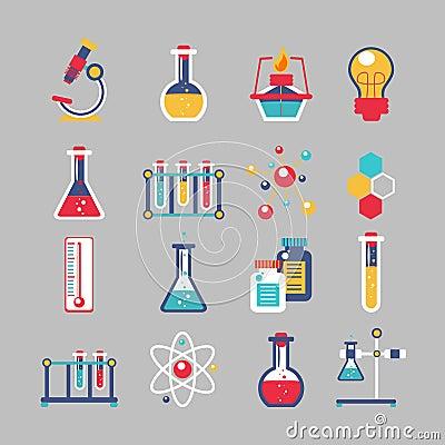 化学装饰象设置用化工实验室科学实验设备隔绝了传染媒介例证.图片