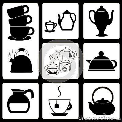 被设置的茶壶和杯子图片