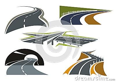 与天桥的现代高速公路象互换,高速公路隧道,绕过农村路和山路在悬崖图片