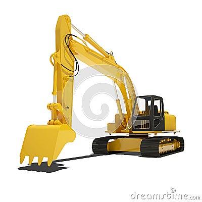 被隔绝的黄色挖掘机