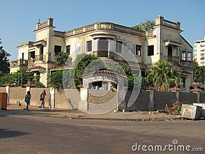 被破坏的房子在马普托,莫桑比克,非洲 编辑类库存图片