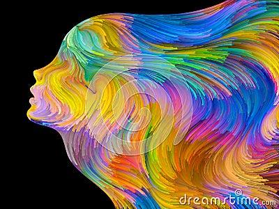 在超现实的绘画样式执行的五颜六色的人的外形的安排关于梦想,激情
